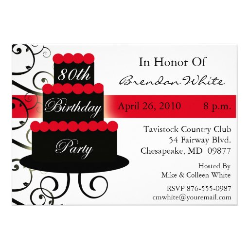 Personalized Elegant 80th birthday party Invitations – 80th Birthday Party Invitations Templates