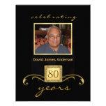 80th Birthday Party Invitations - Formal Monogram