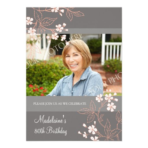 80th BIrthday Party Invitations Gray Coral Flowers