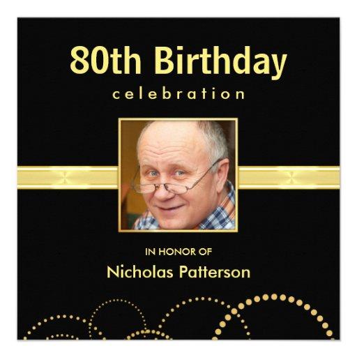 80th Birthday Party Invitations - Photo Optional