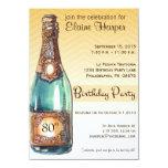 80th Birthday Party Invite in Gold Chevron Ombre
