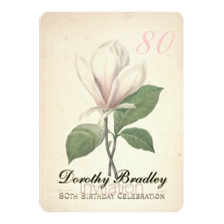 80th Birthday Party Magnolia Custom Invitation