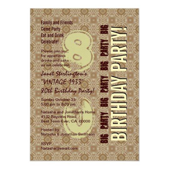 80th Birthday Party Modern Ecru Pattern Vertical Card