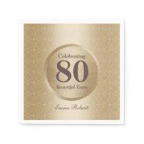 80th Birthday Party Monogram Gold Elegant Napkin
