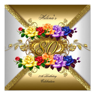 80th Birthday Party Multi Color Gold Roses 5.25x5.25 Square Paper Invitation Card