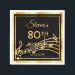 """80th birthday party on classic black gold music napkin<br><div class=""""desc"""">A napkin for an elegant black and gold themed 80th birthday party. Black background color and a faux gold frame. With classic swirl decor and golden music notes. Templates for a name, age and date of the party. The background is transparent so you can change the color to match your...</div>"""