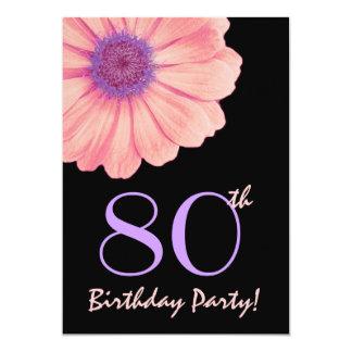 80th Birthday Party Peach and Purple Daisy 202 5x7 Paper Invitation Card