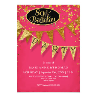 80th Birthday Party Pennant Banner Confetti Card