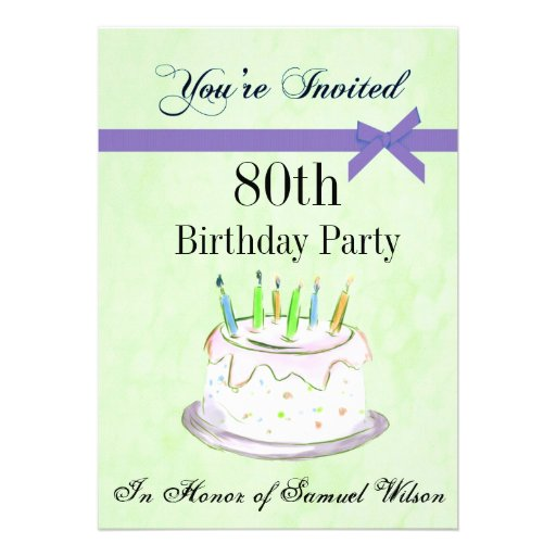 "80th Birthday Party Personalized Invitation 5"" X 7"