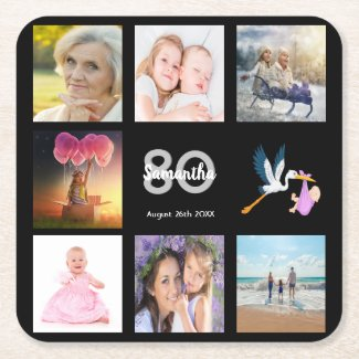 80th birthday party photo collage black square paper coaster
