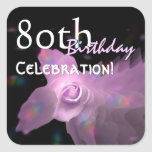 80th Birthday Party Pink Dancing Butterfly Rose Square Stickers