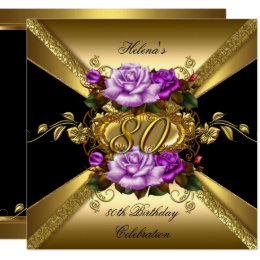 80th Birthday Party Purple Gold Roses Black Card