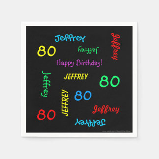 80th Birthday Party Repeating Names, Black Paper Napkin
