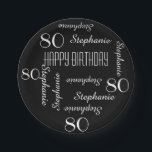 """80th Birthday Party Repeating Names Black White Paper Plate<br><div class=""""desc"""">CHOOSE YOUR COLOR and create your own stylish, personalized paper plate for an 80th birthday party or any other occasion. Name and Age repeats in white. This style defaults to a black background, but you can click CUSTOMIZE to easily select a different background color. You be the designer! Easy to...</div>"""
