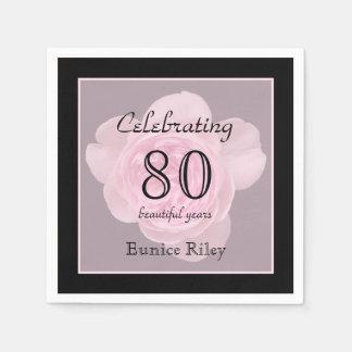80th Birthday Party Rose Paper Napkins Standard Cocktail Napkin