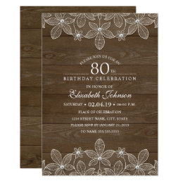 80th birthday party invitations announcements zazzle 80th birthday party rustic wood unique lace card filmwisefo Choice Image