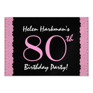 80th Birthday Party Scalloped Ribbon Metallic Custom Announcement