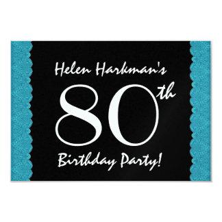 80th Birthday Party Scalloped Ribbon Metallic Invitation