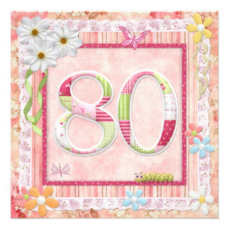 80th birthday party scrapbooking style personalized announcements