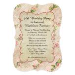 "80th Birthday Party Scroll Frame w Vintage Roses 5"" X 7"" Invitation Card"