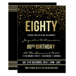 80th Birthday Party | Shimmering Gold Confetti Card