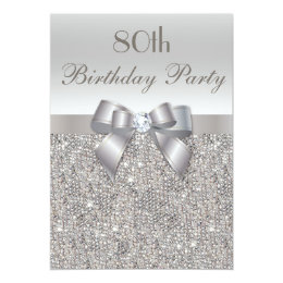 80th Birthday Party Silver Sequins, Bow & Diamond Card
