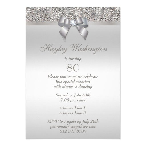 80th Birthday Party Silver Sequins, Bow & Diamond Custom Invites (back side)