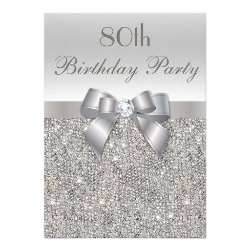 80th Birthday Party Silver Sequins, Bow & Diamond Custom Invites (front side)
