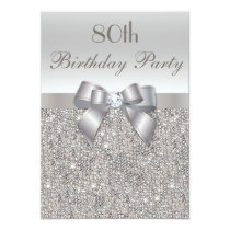 80th Birthday Party Silver Sequins, Bow & Diamond Invitation