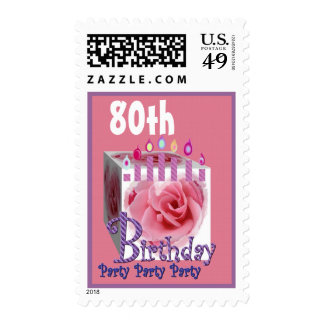 80th Birthday Party Stamp Pink Rose Gift Candles