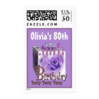 80th Birthday Party Stamp PURPLE Rose & Candles