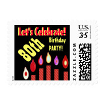 80th Birthday Party Stamp Red Candles V80A