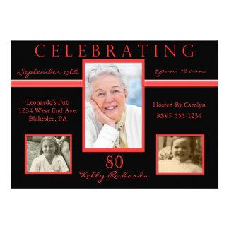 80th Birthday Party Tri Photo Invitations Red Bl