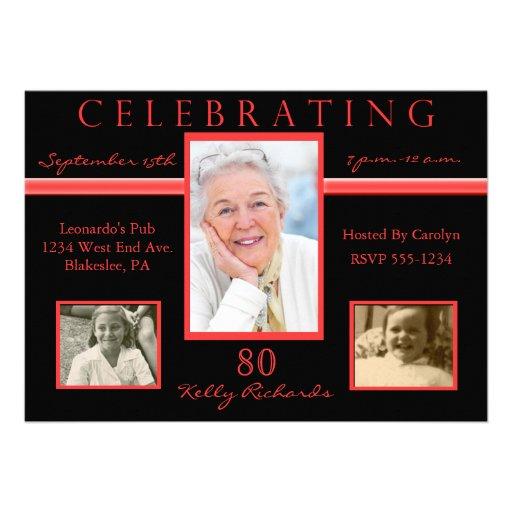 80th Birthday Party Tri Photo Invitations Red & Bl