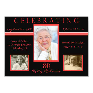 80th Birthday Party Tri Photo Invitations Red & Bl