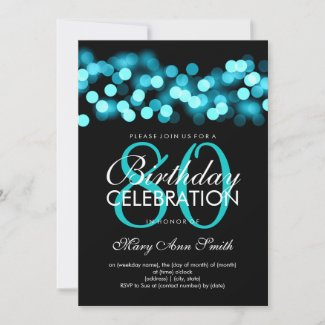 80th Birthday Party Turquoise Hollywood Glam Invitation