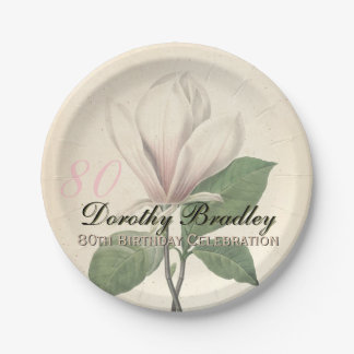 80th Birthday Party Vintage Magnolia Paper Plates