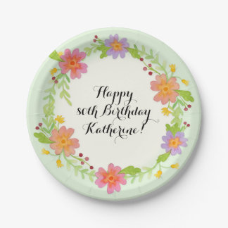 80th Birthday Party Watercolor Modern Floral Paper Plate
