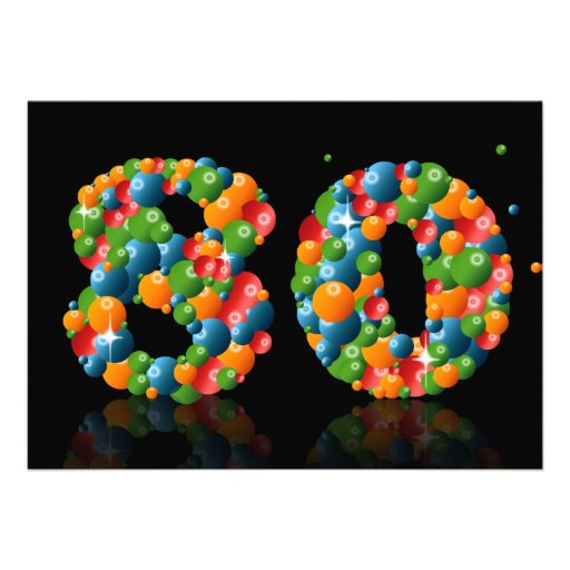 80th Birthday party, with bubbles and balls Custom Announcement