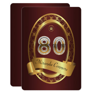 80th,birthday party woman man,elegant color card