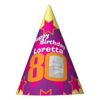 80th birthday personalized photo star name hat