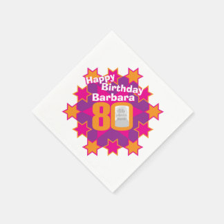 80th birthday photo and name pink star napkins