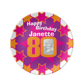 80th birthday photo and name pink star plate