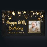 "80th Birthday Photo Black Gold Stars Personalized Banner<br><div class=""desc"">Honor the 80-year-old and welcome your party guests with this black and gold themed banner with gold stars and HAPPY 80TH BIRTHDAY in a modern, brush script font and personalized with their name. The title is editable to change to any age birthday. PHOTO TIP: For fastest/best results, choose a photo...</div>"