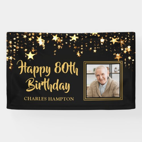 80th Birthday Photo Black Gold Stars Personalized Banner