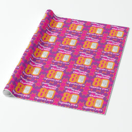 80th Birthday photo bright girls pink gift wrap