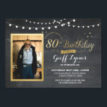 "80th Birthday Photo Chalk Rustic Gold Invitation<br><div class=""desc"">80th Birthday - Add your photo to this vintage style chalk invite. Add any age. Back print included.</div>"