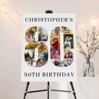 80th Birthday Photo Collage Number 80 Personalized Foam Board
