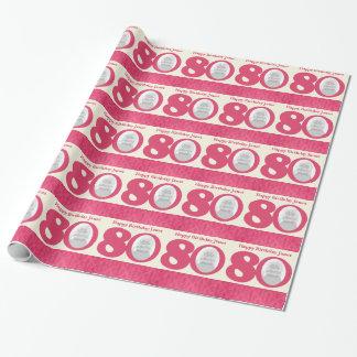 80th Birthday photo fun cream pink wrapping Gift Wrap
