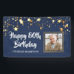 """80th Birthday Photo Gold Stars Blue Personalized Banner<br><div class=""""desc"""">Honor the 80-year-old and welcome your party guests with this black and gold themed banner with gold stars and HAPPY 80TH BIRTHDAY in a modern, brush script font and personalized with their name. The title is editable to change to any age birthday. PHOTO TIP: For fastest/best results, choose a photo...</div>"""